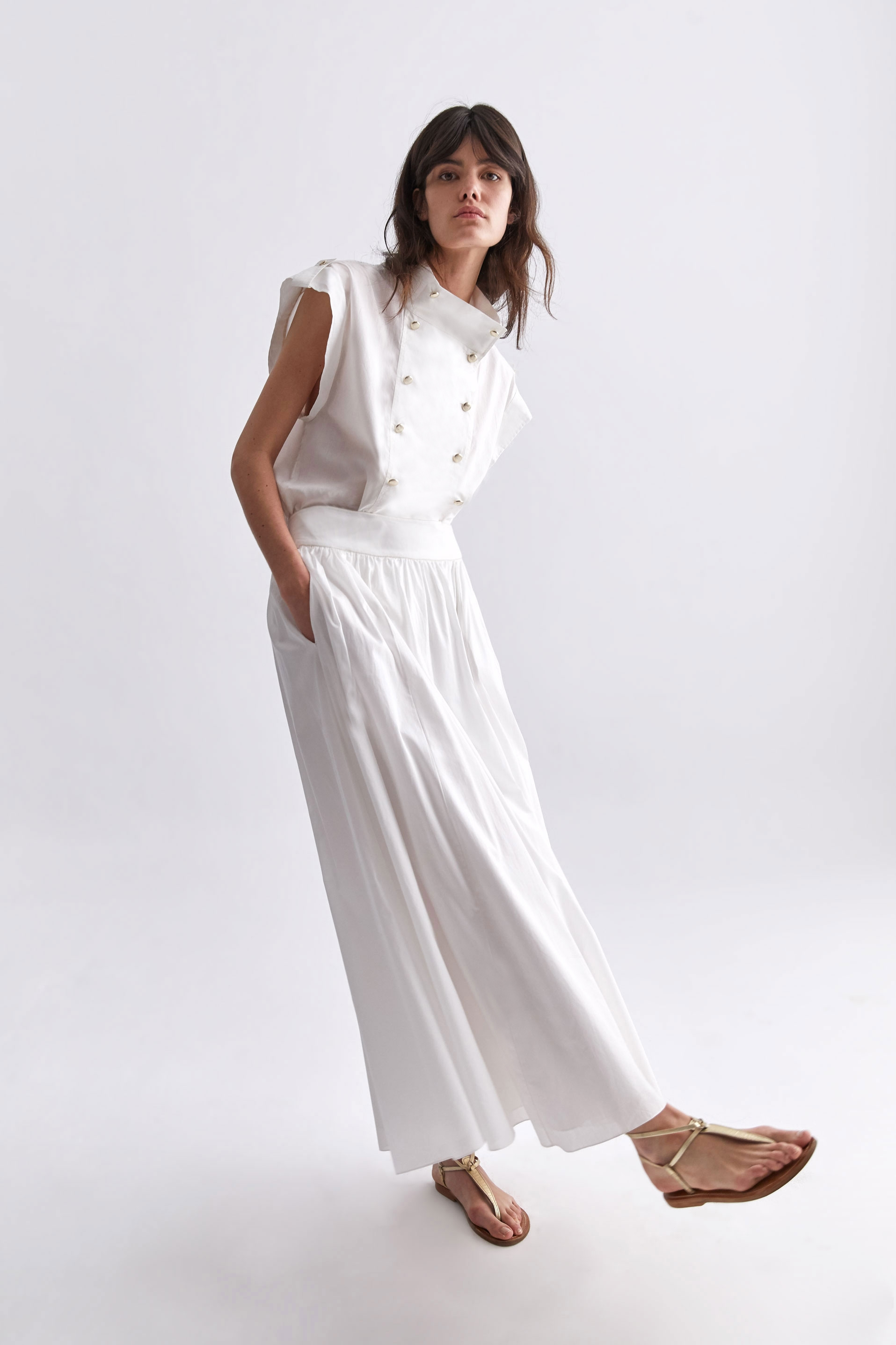 Gaby Long Skirt (White)